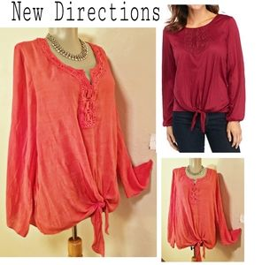 New Direction coral tie front top. Size XL
